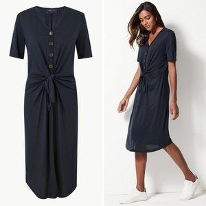 M&S Collection Tie Front Relaxed Midi Dress (Navy)